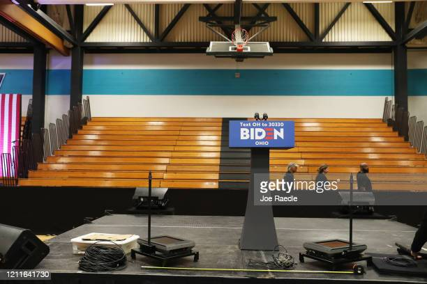 The podium for Democratic presidential candidate former Vice President Joe Biden is set up on stage after his primary night rally at the Cuyahoga...