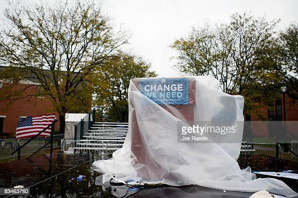 The podium for Democratic presidential nominee US Sen Barack Obama is covered in plastic after he spoke in the rain during a campaign rally at...
