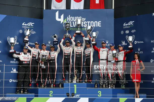 The podium for the opening WEC Championship race John Steeghs of the Netherlands and Toyota Gazoo Racing Team Manager Brendon Hartley of New Zealand...
