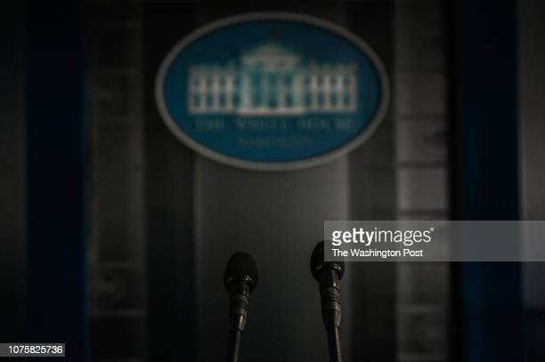 The podium in the briefing room at the White House is seen on the eighth day of a partial federal movement shutdown on Saturday December 29 in...