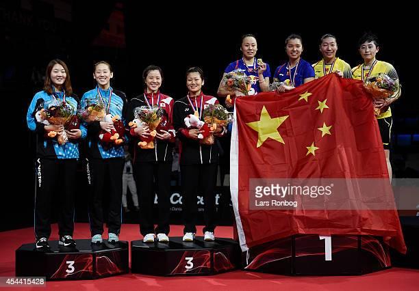 The podium in womens double So Hee Lee and Seung Chan Shine of Korea Reika Kakiiwa and Miyuki Maeda of Japan Qing Tian and Yunlei Zhaoin of China...