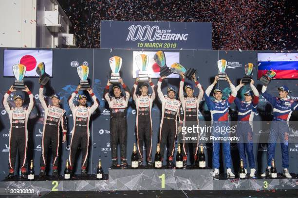 The podium Kamui Kobayashi of Japan and Toyota Gazoo Racing Mike Conway of Great Britain and Toyota Gazoo Racing Jose Maria Lopez of Argentina and...