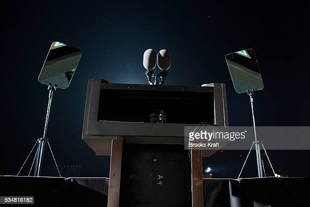 The podium, microphone and teleprompters of U.S. President Barack Obama at a campaign rally in Cleveland, Ohio.
