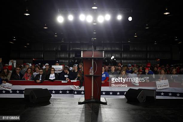 The podium stands at a rally for Donald Trump president and chief executive of Trump Organization Inc and 2016 Republican presidential candidate in...