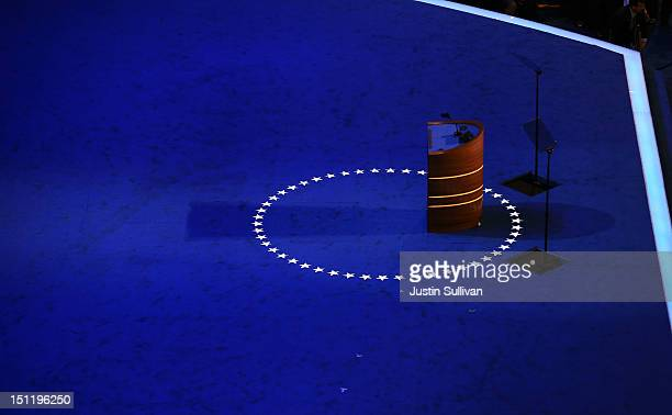 The podium stands empty on stage during preparations for the Democratic National Convention at Time Warner Cable Arena on September 3, 2012 in...