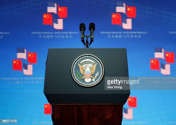 The podium with a US presidential seal is placed on stage during the opening session of the first USChina Strategic and Economic Dialogue at the...