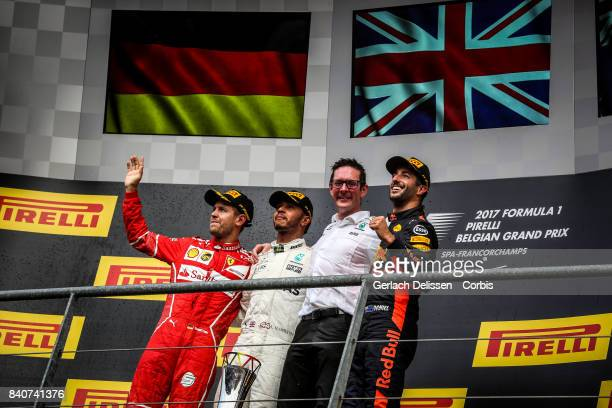 The Podium with winner Lewis Hamilton of the Mercedes AMG Petronas F1 Team 2nd place Sebastian Vettel of the Scuderia Ferrari Team and 3rd place...