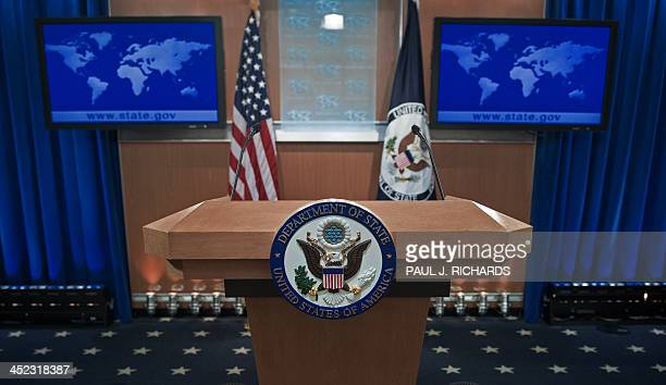 The podiumlectern area is seen November 26 2013 in the State Department briefing room in Washington DC AFP Photo/Paul J Richards