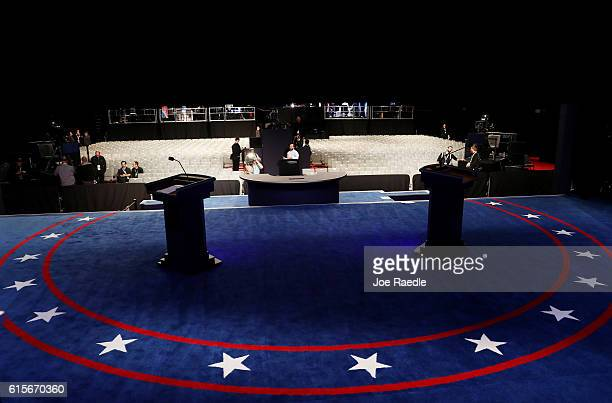 The podiums on stage prior to the start of the third US presidential debate at the Thomas Mack Center on October 19 2016 in Las Vegas Nevada Tonight...