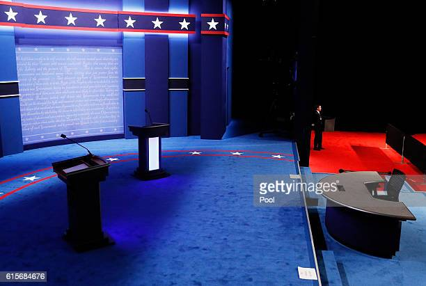 The podiums on stage seen prior to the start of the third US presidential debate at the Thomas Mack Center on October 19 2016 in Las Vegas Nevada...
