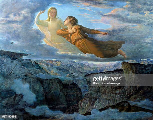 The Ideal, a young woman raised in air above a landscape of mountains accompanied by a muse in a lyrical atmosphere. Painting by Louis Janmot 19th...