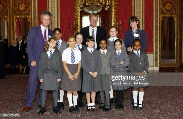 The Poet Laureate Andrew Motion with pupils from London Schools St Joseph's RC Primary School Highgate Hill and Cardinal Pole RC School Hackney...