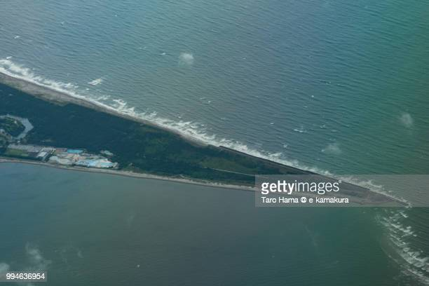 The point of Futtsu cape in Chiba prefecture in Japan daytime aerial view from airplane