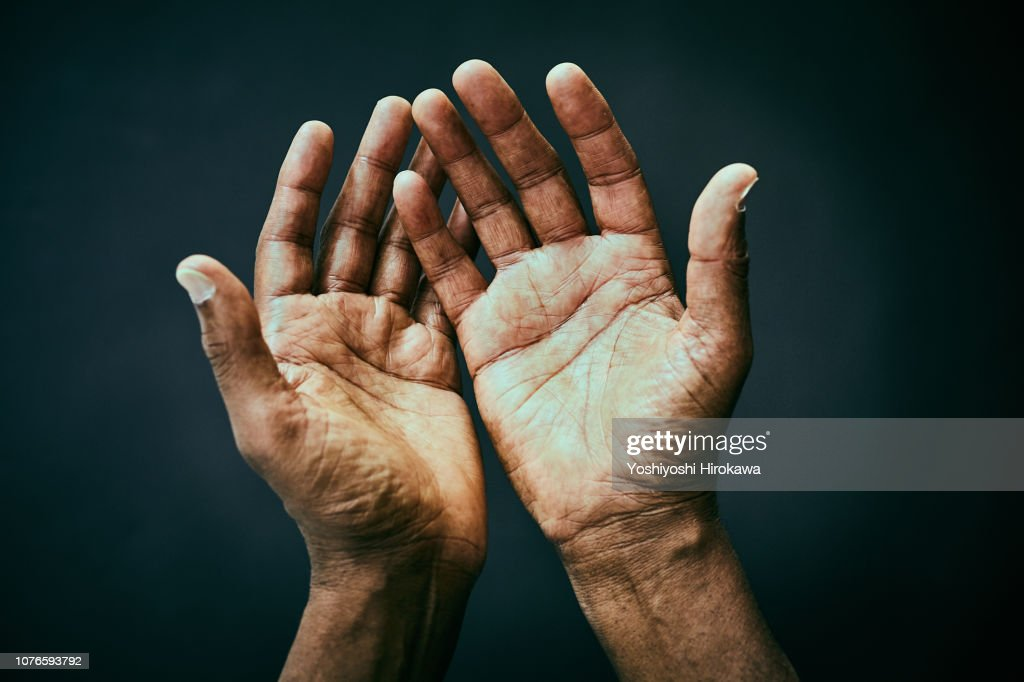 The point of view of looking own hands. : Stock Photo