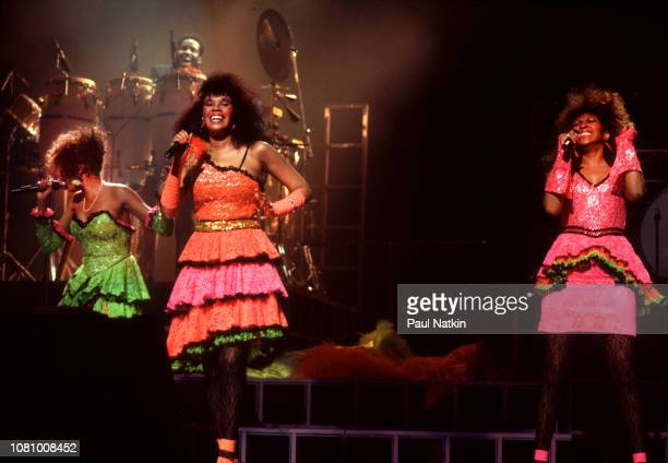 The Pointer Sisters left to right June Pointer Anita Pointer and Ruth Pointer perform at the Aire Crown Theater in Chicago Illinois June 27 1985