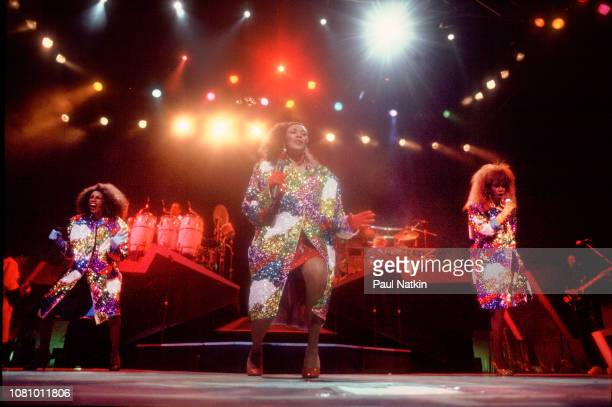 The Pointer Sisters perform on stage at the Poplar Creek Music Theater in Hoffman Estates Illinois August 4 1986