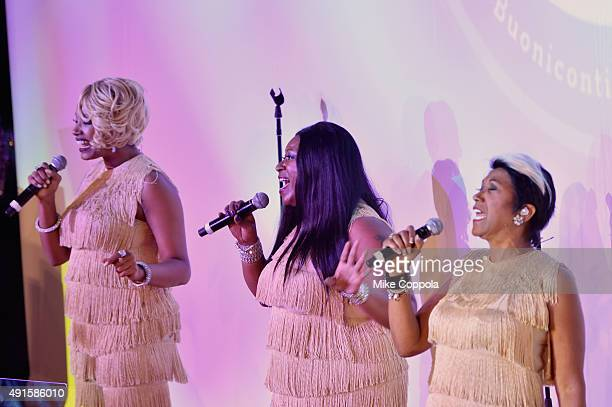 The Pointer Sisters perform onstage at the 30th Annual Great Sports Legends Dinner to benefit The Buoniconti Fund to Cure Paralysis at The Waldorf...