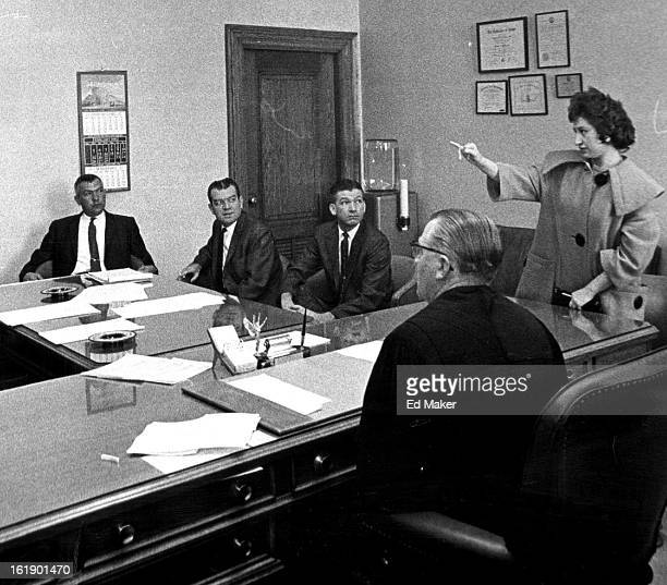 FEB 24 1962 FEB 25 1962 The Pointing Finger of Accusation Mrs Jeannette Espinosa wife of defendant Theodore Espinosa points to two prosecution...
