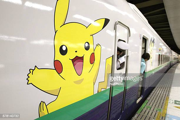 The Pokemon decorated Shinkansen series with an image of Pikachu a popular Pokemon character seen at JR Ueno Station in Tokyo on Jul 21 2016