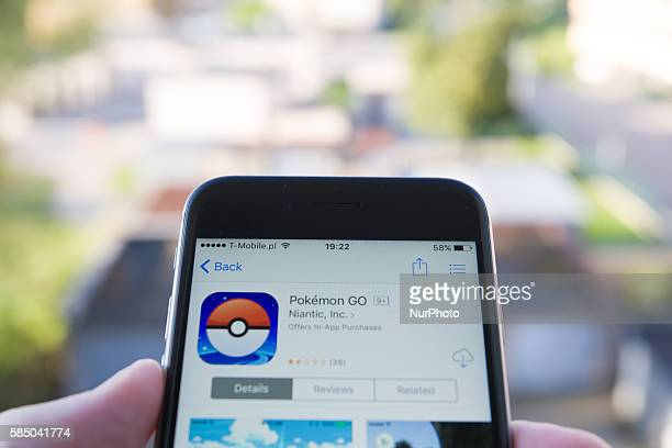 The Pokemon Go game is seen on an iPhone