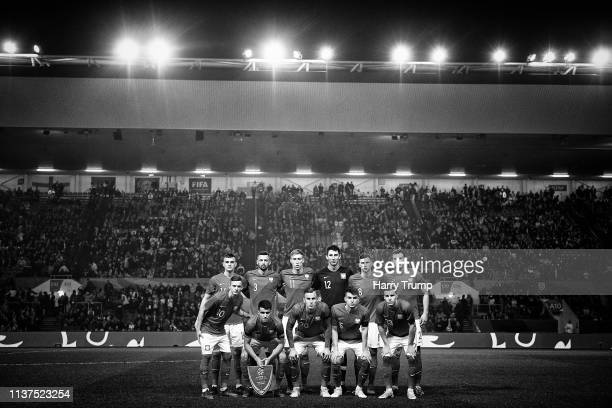 The Poland side pose for a team picture during the U21 International Friendly match between England and Poland at Ashton Gate on March 21 2019 in...