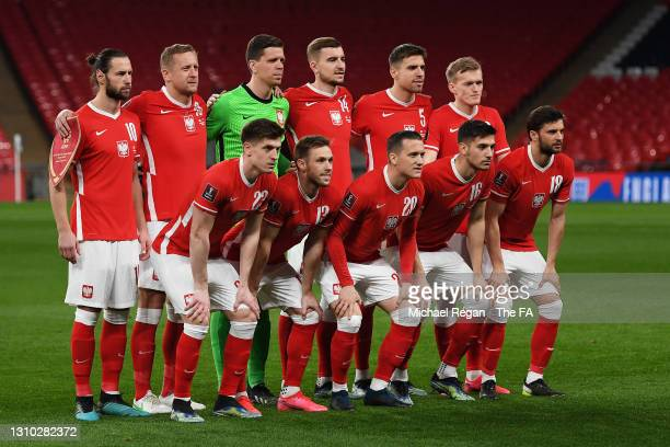 The Poland team line up for a photo prior to the FIFA World Cup 2022 Qatar qualifying match between England and Poland on March 31, 2021 at Wembley...