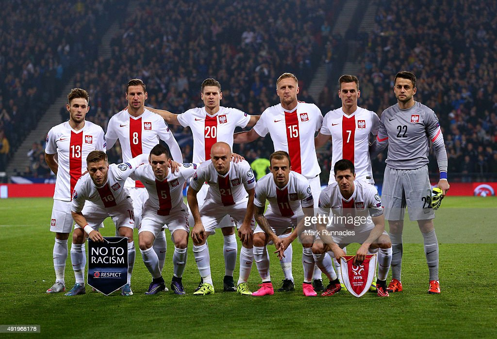 The Poland team line up for a photograph during the EURO 2016 Qualifier between Scotland and Poland at Hamden Park on October 8, 2015 in Glasgow, Scotland.