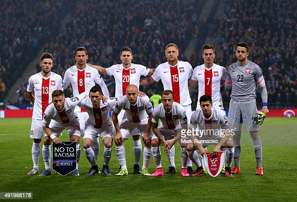 The Poland team line up for a photograph during the EURO 2016 Qualifier between Scotland and Poland at Hamden Park on October 8 2015 in Glasgow...