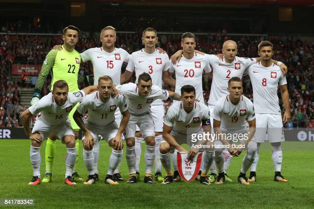 The Poland team line up for a team photograph before the FIFA 2018 World Cup Qualifier between Denmark and Poland at Parken Stadion on September 1...