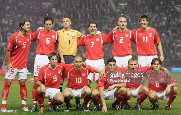 The Poland team lines up prior to a FIFA World Cup Group 6 qualifying match against England at Old Trafford October 12 2005 in Manchester England...