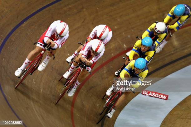The Poland team overtakes the Ukrain team competes in round one of the Womens Team Pursuit during the track cycling on Day Two of the European...
