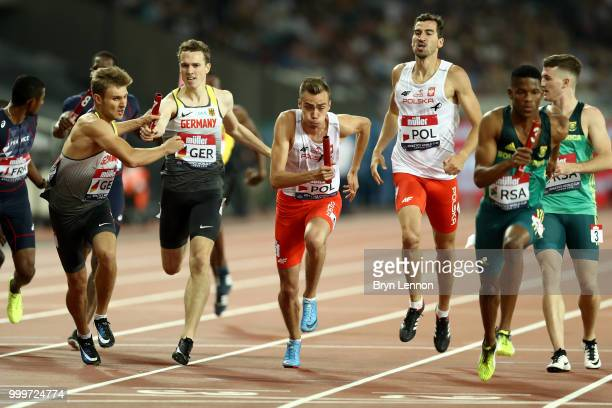 The Poland team pass the baton during the Men's 4x400m Relay during day two of the Athletics World Cup London at the London Stadium on July 15 2018...
