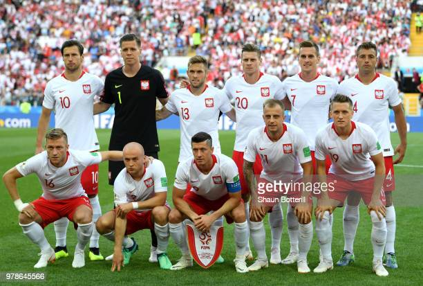 The Poland team pose for a team photo prior to the 2018 FIFA World Cup Russia group H match between Poland and Senegal at Spartak Stadium on June 19...