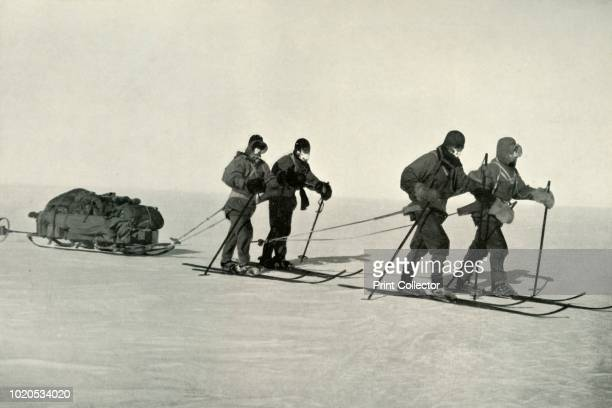 On the Trail', circa 1910, . The final expedition of British Antarctic explorer Captain Robert Falcon Scott left London on 1 June 1910 bound for the...
