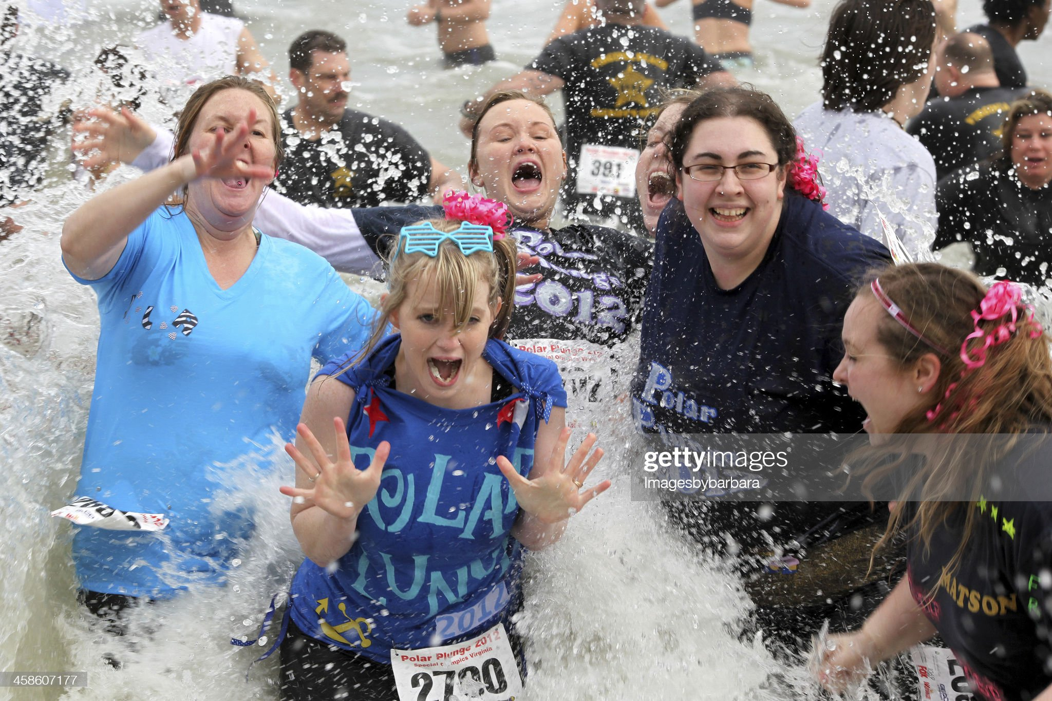 Polar Plunge Women in icy water