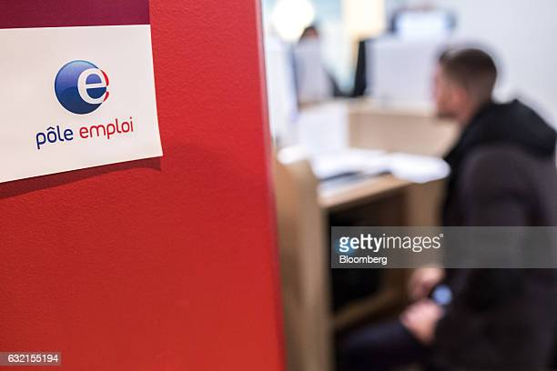 The Pole Emploi logo sits on display inside a French national employment agency in Toulouse France on Thursday Jan 19 2017 Joblessness will be one of...