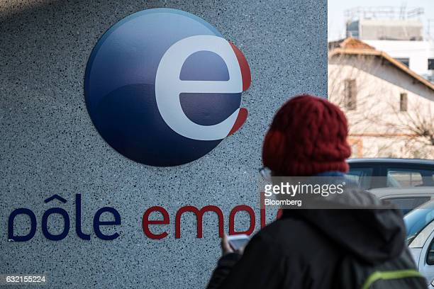 The Pole Emploi logo sits on display outside a French national employment agency in Toulouse France on Thursday Jan 19 2017 Joblessness will be one...