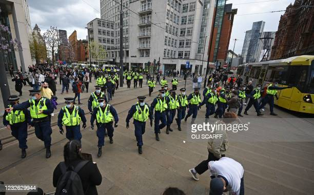 The police arrive to disperse the crowd of demonstrators protesting against the Police, Crime, Sentencing and Courts Bill 2021 after they block the...