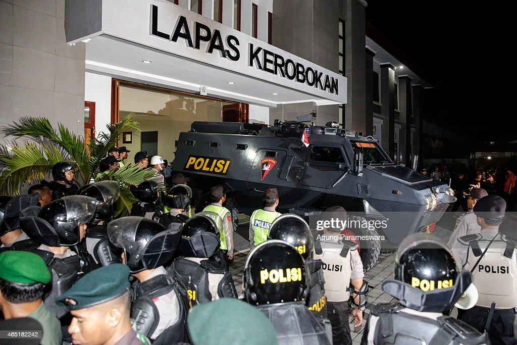 The police Barracuda vehicle arrive which is use to transfer the Bali Nine duo Andrew Chan and Myuran Sukumaran to Ngurah Rai International Airport during their transferred process from Kerobokan prison to Nusakambangan prison March 4, 2015 in Denpasar, Bali, Indonesia. Bali Nine duo Andrew Chan and Myuran Sukumaran have been transferred to the execution island Nusukamban where they will await their fate. Chan and Sukumaran were both sentenced to death after being found guilty of attempting to smuggle 8.3kg of heroin valued at around $4 million from Indonesia to Australia along with 7 other accomplices.