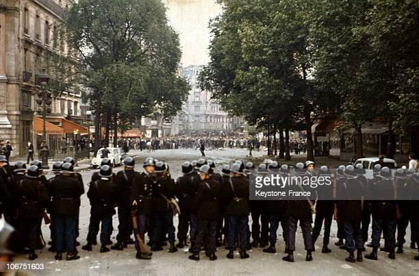The Police Blocking A Street In The Latin Quarter In Paris During Student Demonstrations On May 24 1968