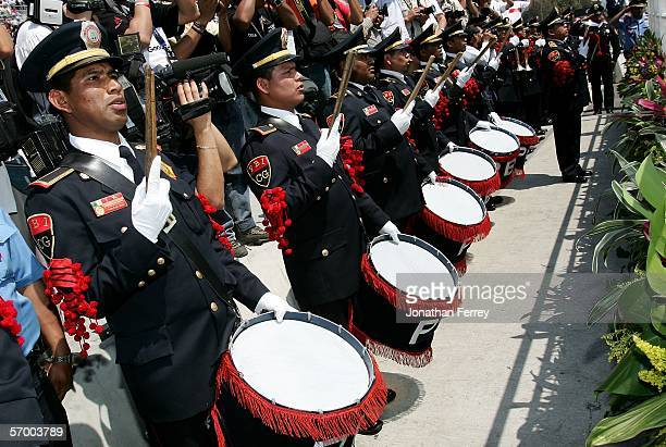 The Police brummers play the Mexican National Anthem during the NASCAR Busch Series TelcelMotorola 200 on March 5 2006 at Autodromo Hermanos...