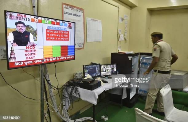 The police control room from where they were keeping eyes on MCD 2017 results at polling station at ITI Khichri Pur on April 26 2017 in New Delhi...