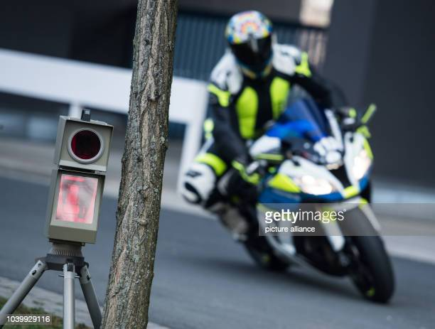 The police demonstrates a speed control camera in Wiesbaden Germany 16 March 2017 The Hessian Minister of the Interior and the state police president...