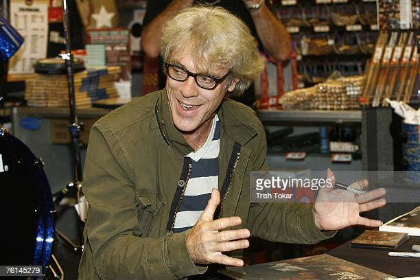 The Police drummer Stewart Copeland visits the Guitar Center to promote his new solo release The Stewart Copeland Anthology on August 16 2007 in...