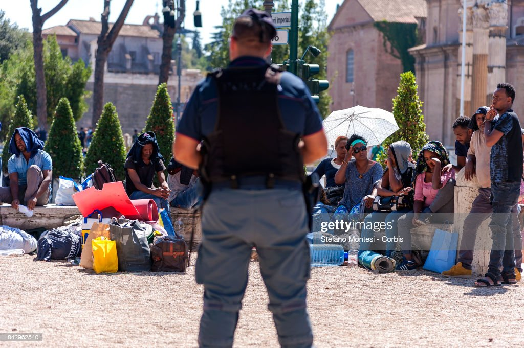 Police Evict Refugees From Their Tent Camp In The Piazza Indpendenza : News Photo