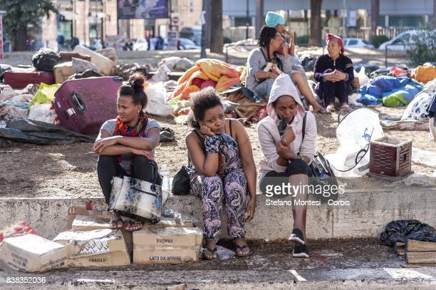 The police evict refugees who camped in Piazza Indipendenza Gardens after their eviction from an occupied building in Piazza Indipendenza on August...