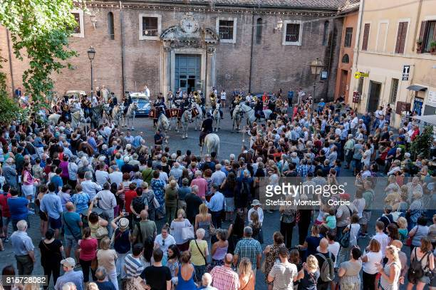 The police fanfare on horseback performs in honor of the Madonna during the Solemn of the Celebration for Our Lady of Mount Carmel in Trastevere...