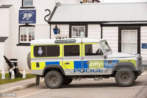 the police headquarters in port stanley, the capital of the falkland islands - police station stock pictures, royalty-free photos & images