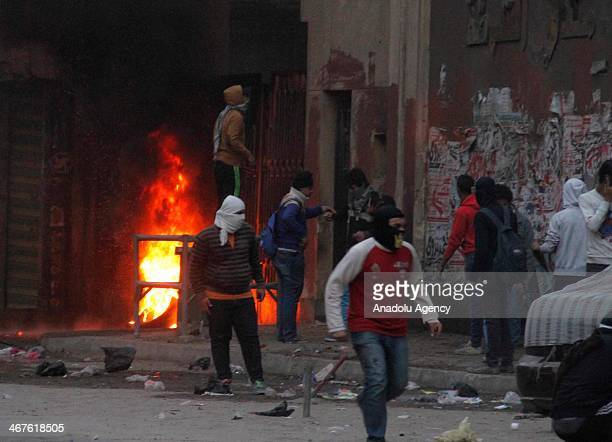 The police institute building in the Ain Shams district of Cairo is damaged during the clashes between Egyptian security forces and pro-democracy...