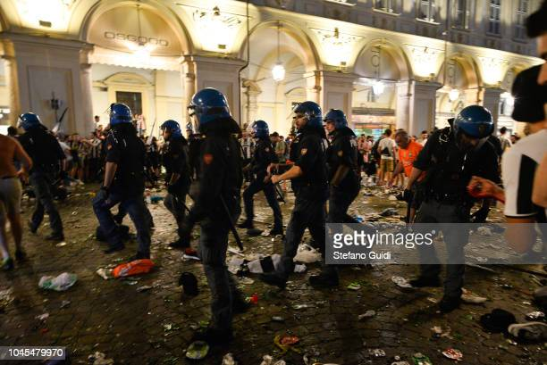 The police intervenes immediately after the moment of panic during the first wave of panic during the Champions League final between Real Madrid and...